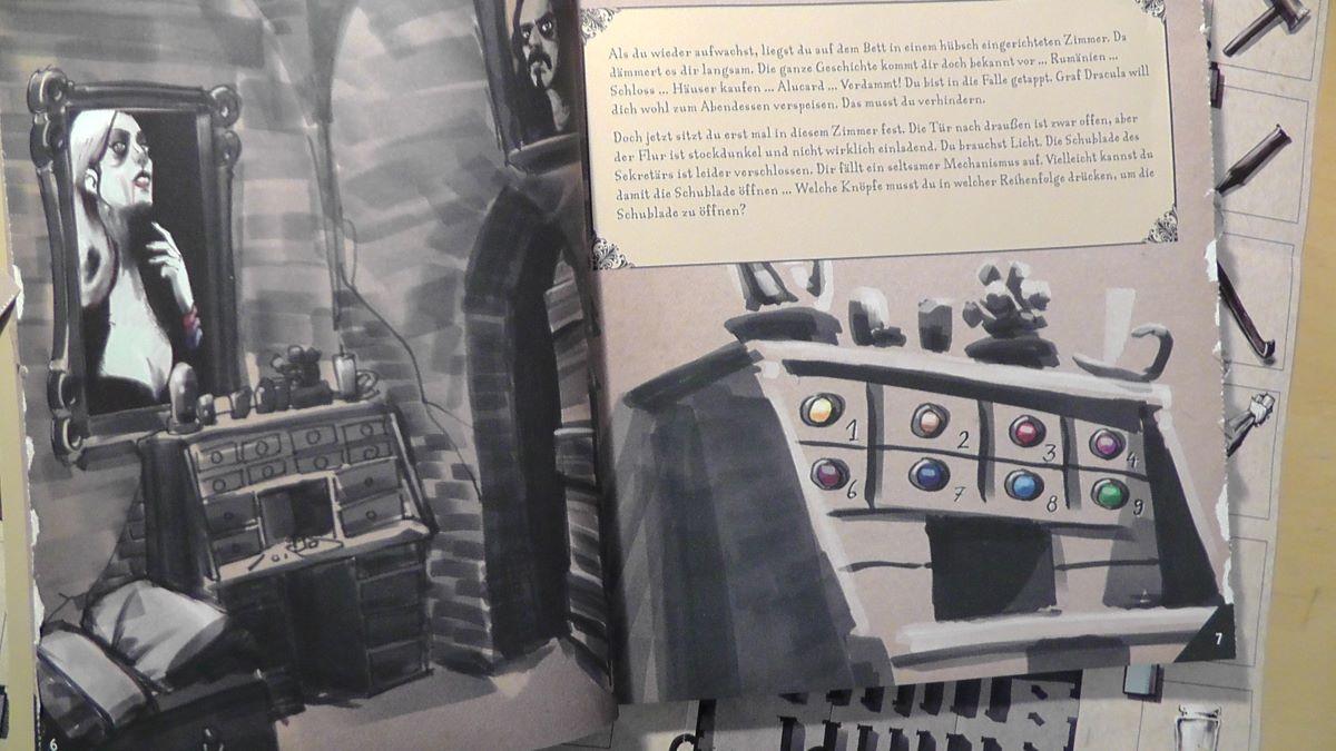 Buchseite aus dem Dracula 24 Days Escape Adventskalender